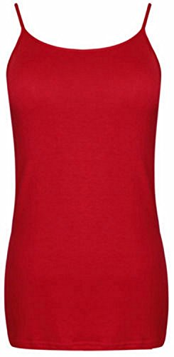 Womens Plus Size Strappy Camisole Vest Tops Ladies Stretch Summer Tank Tops, Red, EU 46