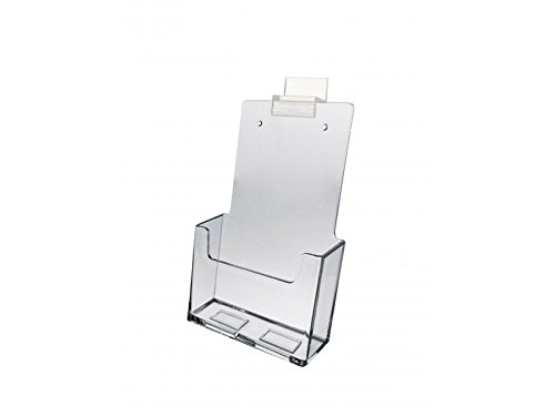 Marketing Holders Brochure Holder Slatwall Clear Acrylic Display for Brochures or Pamphlets Literature 4'' x 9'' Lot of 60