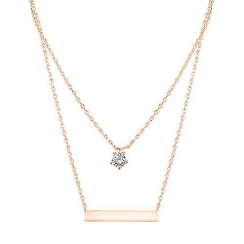 PAVOI 14K Rose Gold Plated Swarovski Crystal Birthstone Bar Necklace Pendant Engraveable April