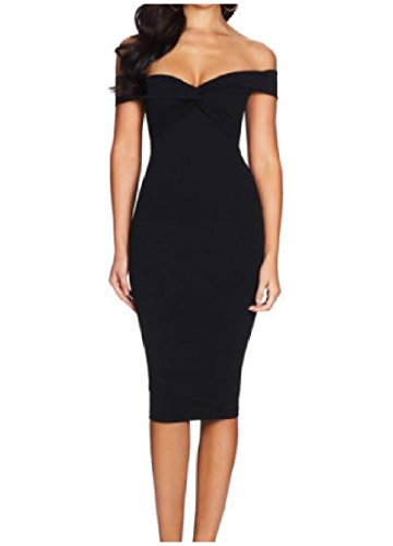 Black Coolred Bodycon Mid Office Sexy Women Stretchy Dress Off Shoulder Party YSqOnSvx