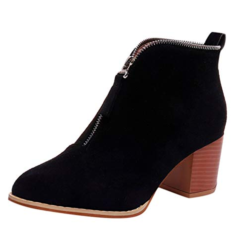 Women's Mid Chunky Block Stacked Heel Ankle Booties Zipper Platform Round Toe Fashion Short Boots Black