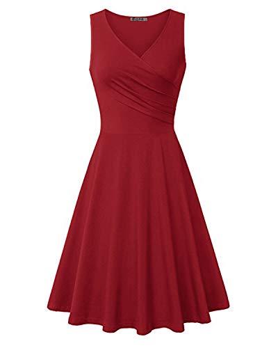 KILIG Women's V Neck Sleeveless Summer Casual Elegant Midi Dress (Wine,M)