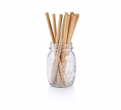 Zone - 365 Organic Bamboo Drinking Straws with Cloth Bag, 20 cm Length Various Thickness, 10 pieces