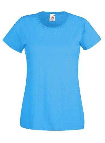 Damen Lady-Fit T-Shirt verschiedene Farben und Größen - Shirtarena Bündel M,Azurblau