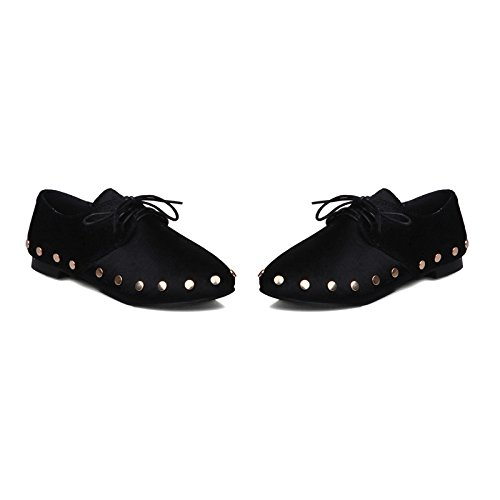 Lace Casual Show Up Flats Rivets Women's Black Shine Shoes 1HRqwtR7x