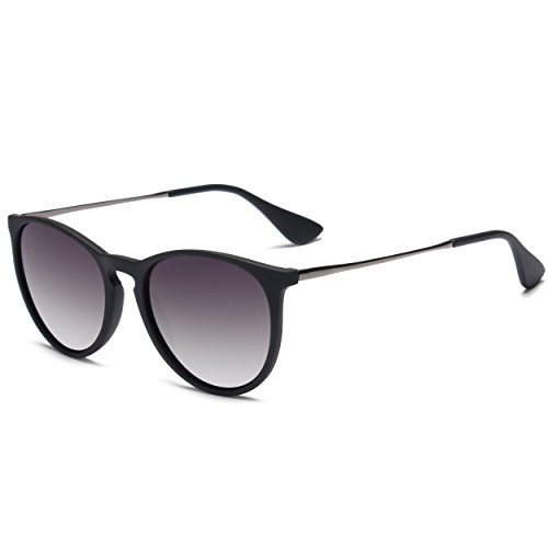 SUNGAIT Vintage Round Sunglasses for Women Erika Retro Style (Black Frame Matte Finish/Grey Gradient - Gradient Lens Sunglasses