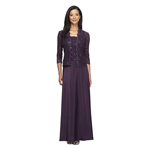 Alex Evenings Women's Sleeveless Dress and Matching Jacket, Eggplant, 16