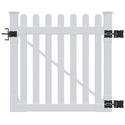Amazon.com : White Vinyl Gate with Stainless Steel Hardware Features ...