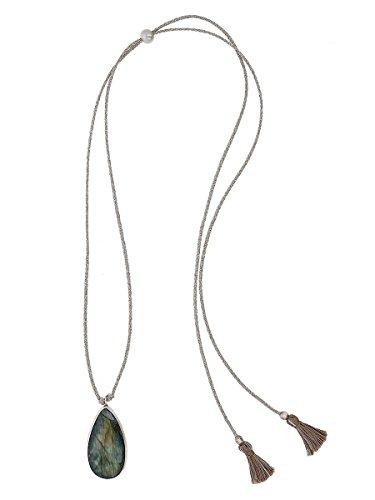 Chan Luu femme  Argent 925/1000  Argent|#Silver Ovale  Perle d'eau douce chinoise Vert Labradorit Perle FASHIONNECKLACEBRACELETANKLET