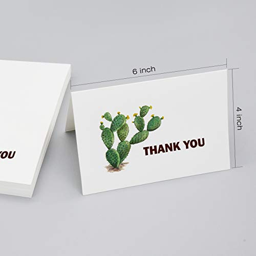 Thank You Cards 36 Bulk Blank Folded Watercolor Cactus Thank You Notes With Self Seal Envelopes - 6 Design, 4 x 6 inch - Perfect for Wedding, Bridal Party, Baby Shower, Graduation,Business,Friends Photo #2