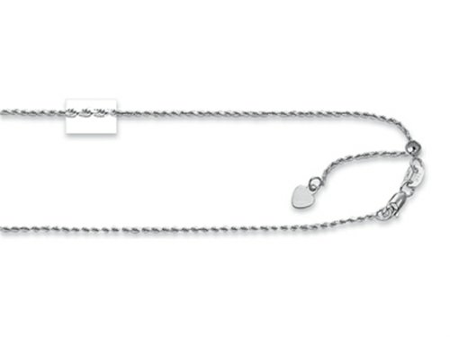 (Finejewelers Rhodium Plated 22 Inch bright-cut Adjustable Rope Chain Necklace with Lobster Clasp and Small Heart Charm)