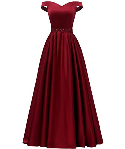 YORFORMALS Women's Off The Shoulder A-line Beaded Satin Prom Dress Long Evening Ball Gown with Pockets Size 14 -