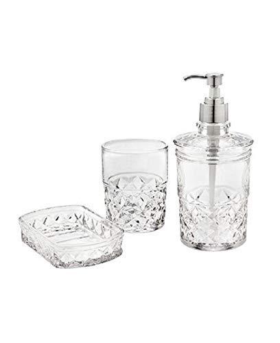 Godinger Allegro Vanity Set Lotion Dispenser, Soap Bar Dish, Tumbler Crystal Set of 3