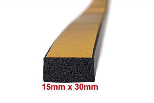 1m-Moosgummidichtung Vierkant selbstklebend 15mm x 30mm - MVS 501530 Siprotek
