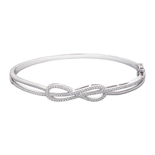 "Brilliant Designers 1/2 CTTW Diamond (IJ/I1) Infinity Center Bangle Bracelet Set In Sterling Silver 7.25"""