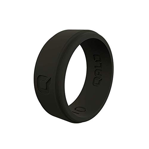 QALO Men's Black Step Edge Q2X Silicone Ring Size 09