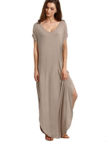 Verdusa Women's V Neck Side Pockets Split Hem Beach Long Maxi Dress Light Brown M