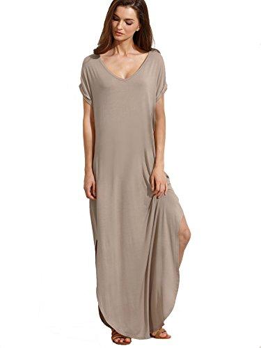 Verdusa Women's V Neck Side Pockets Split Hem Beach Long Maxi Dress Light Brown XL