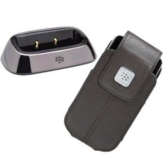Combo of Blackberry OEM Black Leather Swivel Holster and Charging Pod for Blackberry 8220 Pearl Flip (8220 Holsters Swivel Leather)
