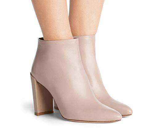 Chunky Fashion Artificial Casual Heel heels Boots Toe Pu Pointed Shiney High Black Blue Apricot Women's wz40qAnwa