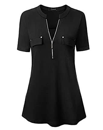Oyamiki Spring Women's Notch-V Neck Short Sleeve Zip up Casual Shirt Blouse Tops (Black, S)
