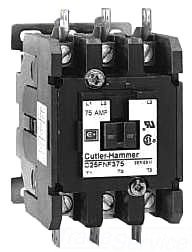 480vac Coil Pole Contactor Single (Eaton C25FNF375A Definite Purpose Contactor, 50mm, 3 Poles, Box Lugs, Quick Connect Side By Side Terminals, 75A Current Rating, 5 Max HP Single Phase at 115V, 20 Max HP Three Phase at 230V, 50 Max HP Three Phase at 480V, 120VAC Coil Voltage)