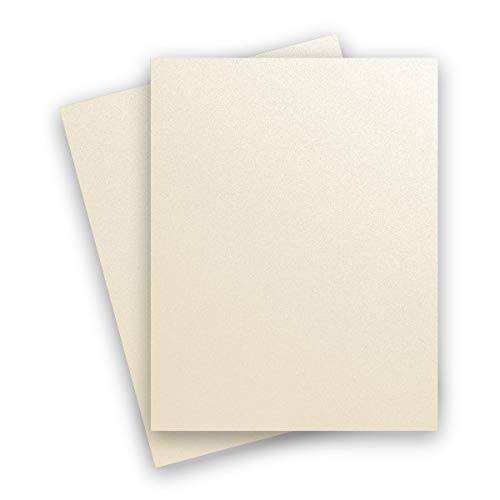 Metallic White Gold Champagne 8-1/2-x-11 Lightweight 32T Multi-use Paper 50-pk - PaperPapers 118 GSM (32/80lb Text) Letter Size Everyday Paper - Professionals, Designers, Crafters and DIY - Curious Metallic Cardstock Paper
