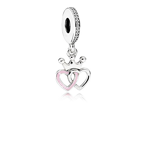Pandora Sterling Silver 925 European Charm Crowned Hearts Orchid Pink Enamel & Clear CZ 791963CZ
