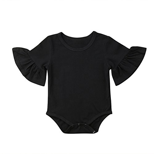 Le Top Cotton Romper - Infant Baby Girl Basic Bell Short Sleeve Cotton Romper Bodysuit Tops Clothes (Black, 3-9 Months)
