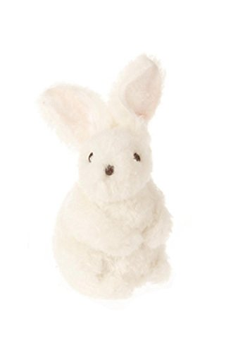 """7.75"""" Soft Fuzzy White Faux Fur Standing Easter Bunny Rabbit"""