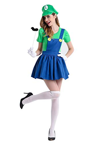 Mario Luigi Womens Halloween Costumes (Halloween Super Mario Brothers Costume for Women Party Luigi Wario and Waluigi Dress)