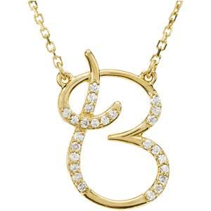 diamond letter necklace 14k yellow gold alphabet initial letter b necklace 21360