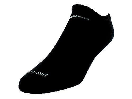 Nike Unisex Dri-FIT No Show 6-Pair Pack Black/(White) LG (Mens Shoe 8-12, Womens Shoe 10-13).