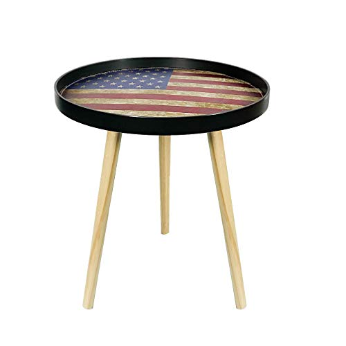 - DreamsEden Small Round Side Table Home Accent Coffee Table with PU Leather Pattern Tabletop and 1'' Deep Baffle Design for Living Room Bedroom Outdoor(American Flag, Black Tray)