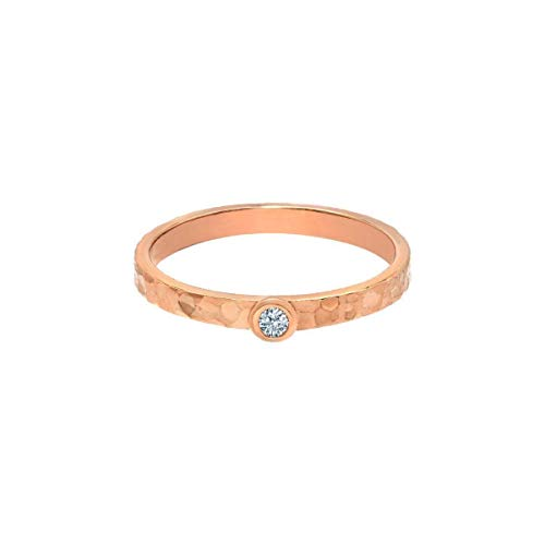 Tousi Solitaire Diamond Rings - Solid 14k or 18k Rose Gold hammered Bands Jewelry for Women- Free Personalized and Engraved Name and Initial or Message