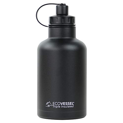 (EcoVessel Vacuum Insulated Large Travel Growler Bottle for Water, Beer, and Tea - Stainless Steel 64 oz Thermos Water Bottle with Infuser Filter and Wide Mouth Dual Opening Cap BOSS)