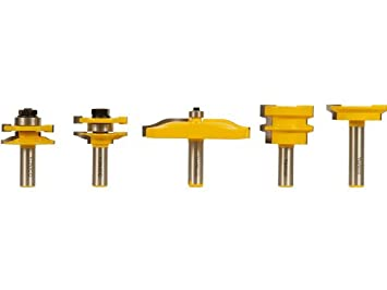 Yonico 12530 5 Bit Cabinet Door Router Bit Set with Large Ogee 1/2 ...