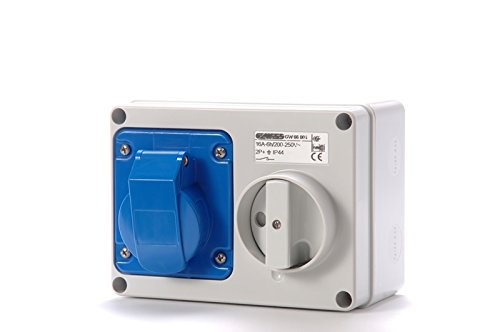 Gewiss GW66015 Horizontal Interlocked Socket Outlet, IP44, 6 Reference, 2P+E Pole, 200V-250V, 32 A, 50 Hz/60 Hz, Blue Gewiss S.p.A.