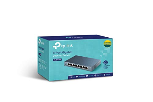 TPLink 8 Port Gigabit Ethernet Network Switch  Ethernet Splitter  Sturdy Metal w Shielded Ports