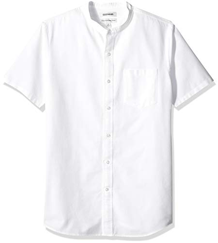 Goodthreads Men's Standard-Fit Short-Sleeve Band-Collar Oxford Shirt, -white, Large