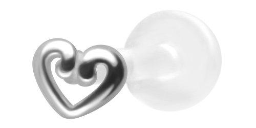 Flat Open Heart Earring (Open Heart Lip Ring BioPlastic Labret Stud 18g-16g-14g Tragus Monroe Stud-Flat Back Cartilage)