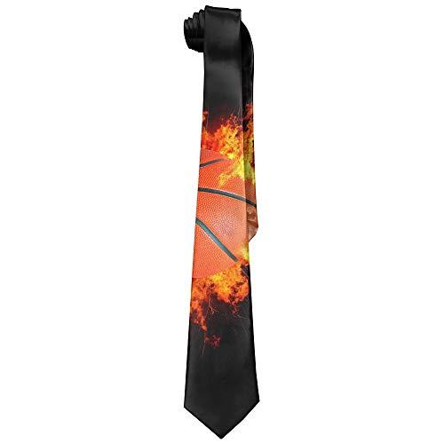 NVJUI JUFOPL Burnninf Fire Basketball Polyester Silk Fashion Gentleman Tie Necktie Gift Box (Basketball Mens Tie)