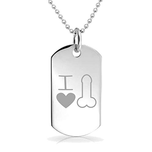 Epic Designs I Heart Penis Funny Custom Engraved Pendant Charm with Necklace Keychain Jewelry or Bags