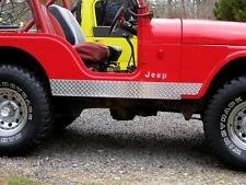 jeeperscreepers Jeep CJ-5 CJ5 Diamond Tread Plate Side 5 1/4 INCH Rocker Panel Guards with Cut Outs !!!