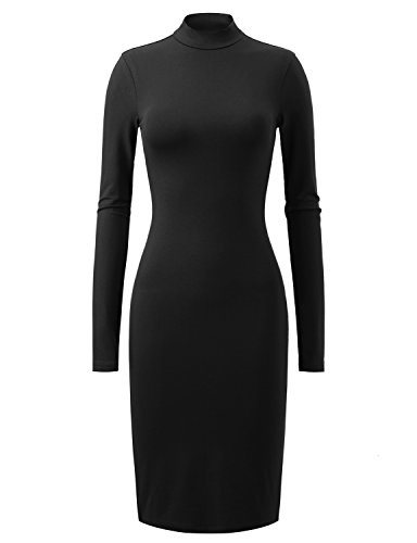 Regna X Love Coated Woman Black Stretch Bell Sleeve Slim dress X-Large
