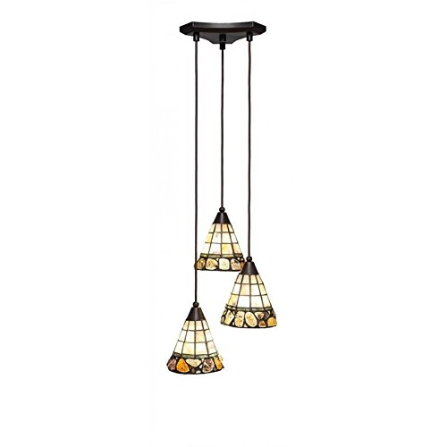 - Toltec Lighting 28-DG-9735 Europa 3 Multi Light Mini Pendant Shown in Dark Granite Finish with 7-Inch Cobblestone Tiffany Glass