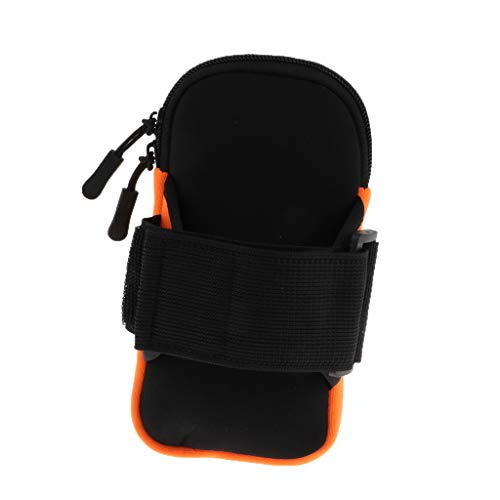 SM SunniMix Fits 5.2-6 inch Phone, Sports Armband Pouch - Sweat Proof Adjustable Strap Protective Holder Case for Gym Running - Orange