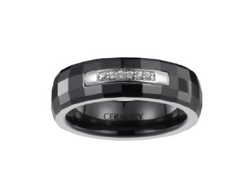 Ceranity - 1-12/0019-N - Bague Femme - Quart de Rail - Argent 925/1000 0.4 gr - Oxyde de zirconium - Céramique - Blanc