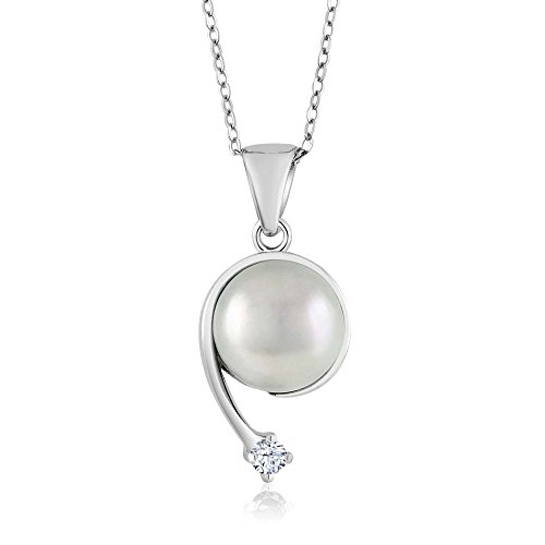 Gem Stone King Round White Topaz Cultured Freshwater Pearl 925 Sterling Silver Shooting Star ()