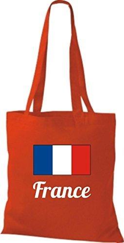 shirtinstyle Bolsa de tela bolsa de algodón länderjute Francia Francia - fucsia, 38 cm x 42 cm Rojo
